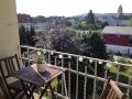 Der schöne Balkon mit Blick auf den Schölerberg