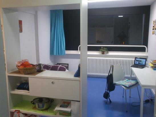 1 zimmerappartement im studentenwohnheim oberwiesenfeld. Black Bedroom Furniture Sets. Home Design Ideas