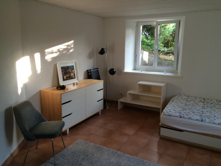 1 zimmer studiowohnung im untergeschoss mit k che und dusche wc 1 zimmer wohnung in st gallen. Black Bedroom Furniture Sets. Home Design Ideas