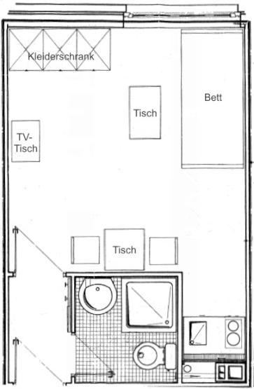 m bliertes appartement f r studenten inkl eigener. Black Bedroom Furniture Sets. Home Design Ideas