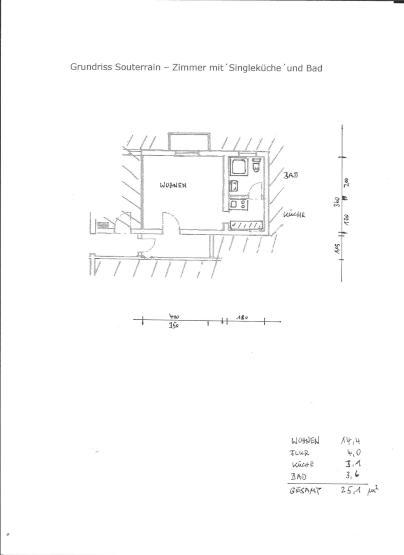 Ein Zimmerwohnung Mit Kleiner Küche Und Bad   Souterain