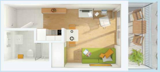 Helles studentenappartment mit balkon in modernem wohnheim for 1 zimmer wohnung in munchen