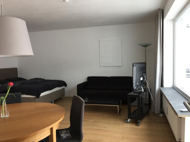 helles appartment mit balkon modern m bliert und ausgestattet 1 zimmer wohnung in dachau. Black Bedroom Furniture Sets. Home Design Ideas